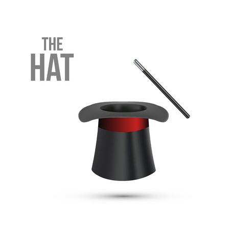 Magician Top Hat with stick. Vector illustration Stock Illustratie