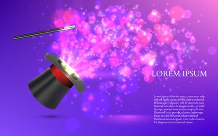 Magician Top hat with fireworks. vector illustration Ilustração