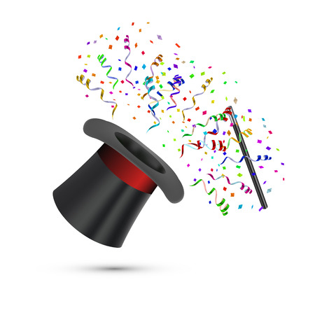 Magician Top Hat and stick with confetti. Vector illustration