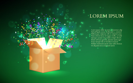Open Box With fireworks from confetti. Vector illustration