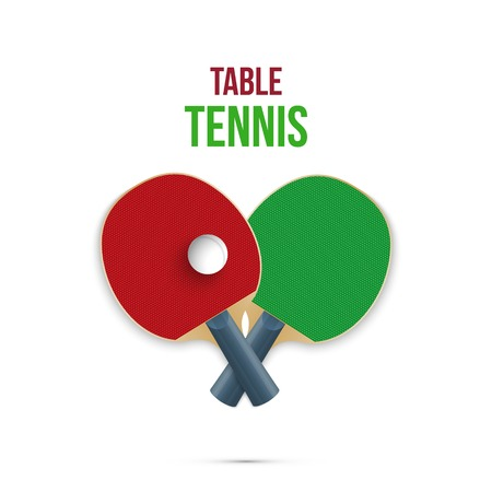 table tennis: Two rackets for playing table tennis isolated on white background. Vector illustration