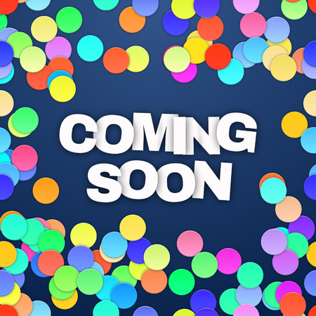 Coming Soon on blue background. Vector illustration