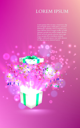 Open gift with fireworks from confetti. vector Illustration