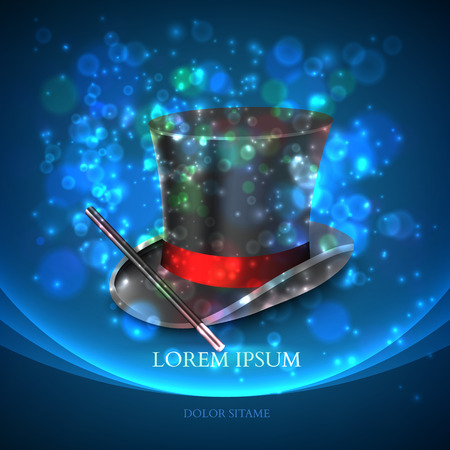 illusionist: Magician Top Hat with magic particles. Vector illustration Illustration