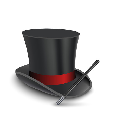 Magician Top Hat with stick. Vector illustration 矢量图像