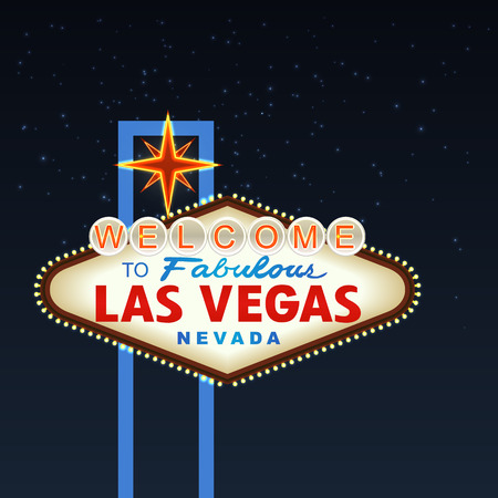 Night Las Vegas Sign with stars. Vector illustration Çizim