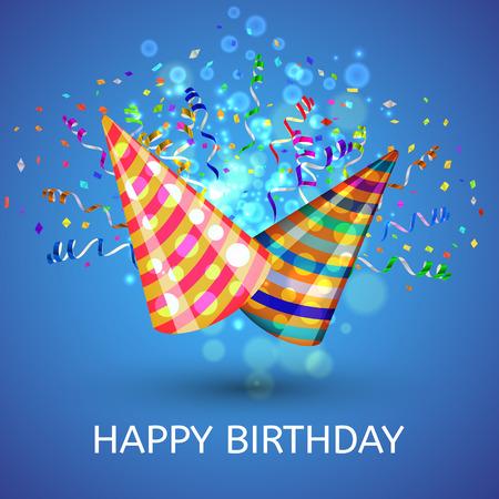 buon compleanno: Cappelli di buon compleanno e coriandoli Sorpresa Sfondo. Illustrazione vettoriale