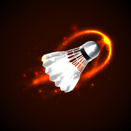 Shuttlecock on fire with particles. Vector illustration