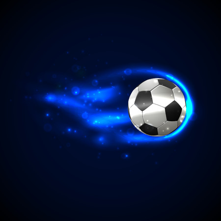 kick ball: Soccer ball on fire with particles. Vector illustration