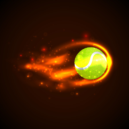 tennisball: Tennis Ball on fire with particles. Vector illustration Illustration