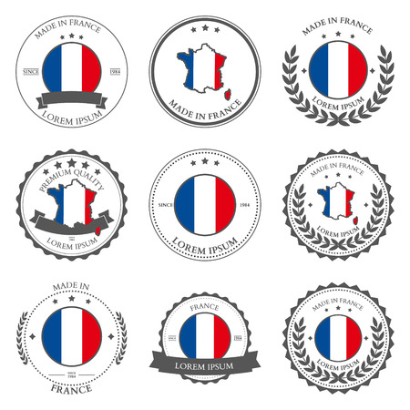 made: Made in France, seals, badges. Vector illustration