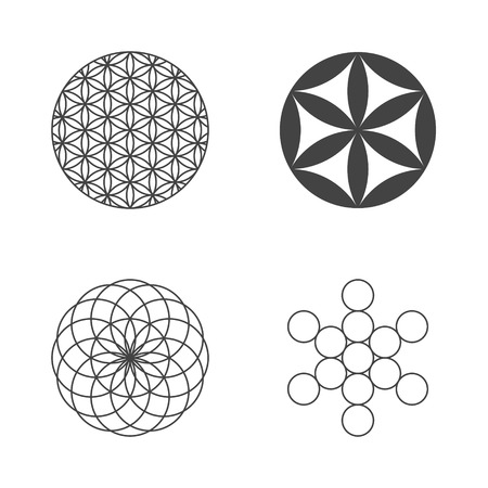 circle flower: Flower of Life. set of icons. design elements. Vector