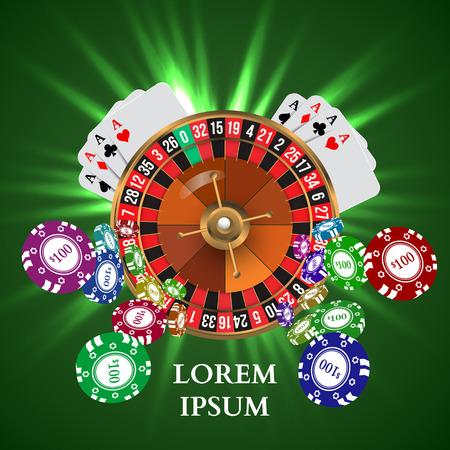 Casino Roulette Jugar virutas Tarjetas witn caída. Ilustración vectorial Ilustración de vector