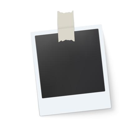 Blank retro photo frame isolated on white background. Vector illustration