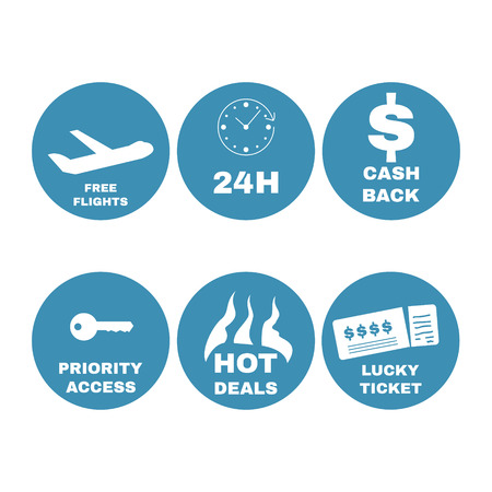 business flying: Flying business airport icons set. Vector illustration