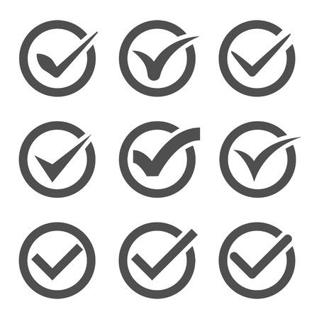 Set van negen verschillende grijze en witte vector vinkjes of tikken in cirkels conceptuele bevestiging acceptatie positieve doorgegeven stemovereenkomst waar of voltooiing van taken op een lijst Stock Illustratie