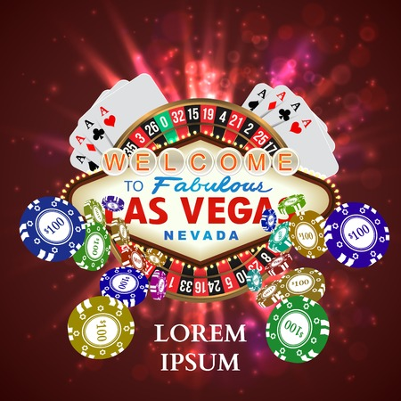 casino chip: Casino Roulette Playing Cards witn Falling Chips. Vector illustration