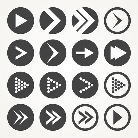 illsutration: Arrow sign icon set white and grey. Vector Illsutration Illustration