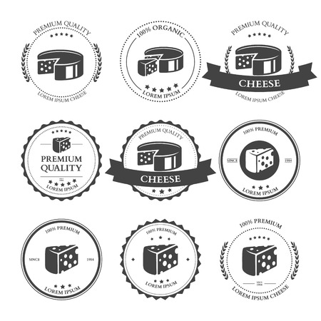 Set of premium Cheese Labels badges. Vector illustration