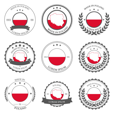 Made in Poland, seals, badges. Vector illustration Vector