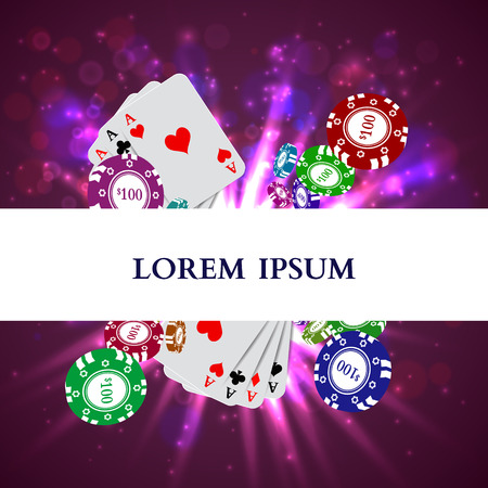 lucky money: Casino Roulette Playing Cards witn Falling Chips. Vector illustration