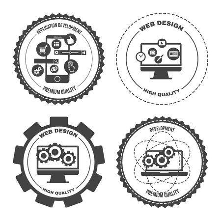 of computer graphics: Set of design concept icons for web mobile phone services apps development. Vector Illustration