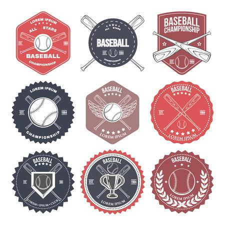 softball player: Set of vintage baseball labels and badges. Vector illustration Illustration