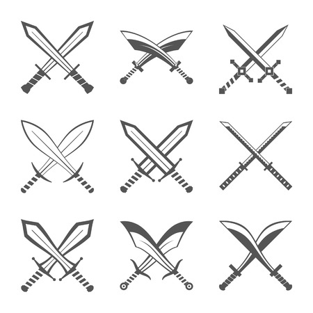 sabre's: Set of heraldic swords and sabres for heraldry design vector illustration Illustration