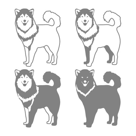 sledge dog: Four Different Silhouettes of dogs. Vector illustration