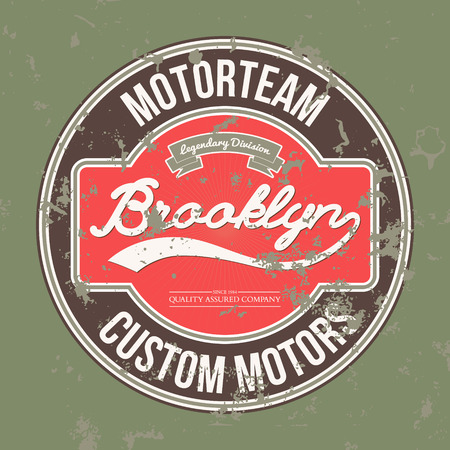 brooklyn: Motorteam Brooklyn. T-shirt graphic. Vector illustration