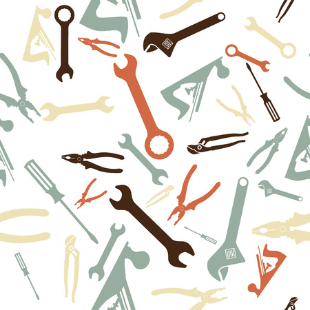 claw hammer: Abstract Seamless Hand tools pattern. Vector illustration Illustration
