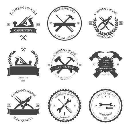 herramientas carpinteria: Vintage herramientas de carpinter�a, etiquetas y elementos de dise�o. Ilustraci�n vectorial