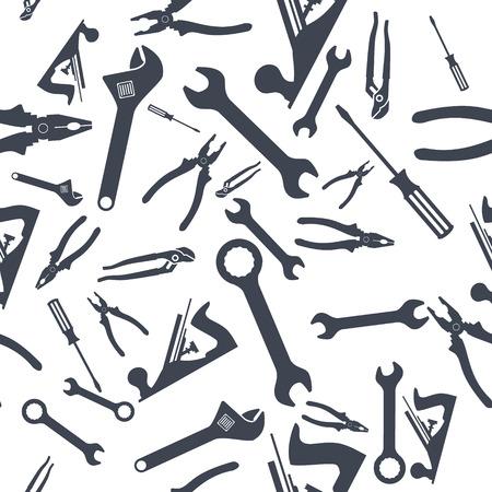 Abstract Seamless Hand tools pattern. Vector illustration Illustration