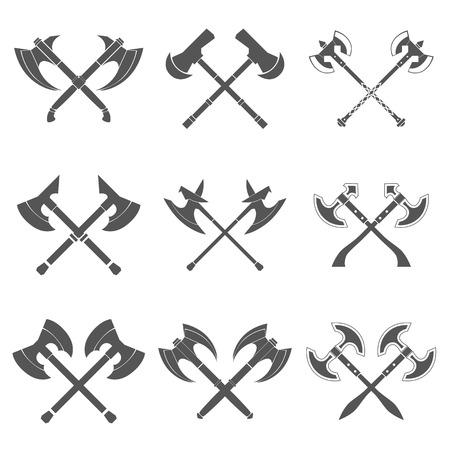 axes: Crossed Axes Collection in White Background vector illustration Illustration