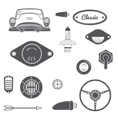 vintage element: Set of Retro car design vintage element. Vector illustration Illustration