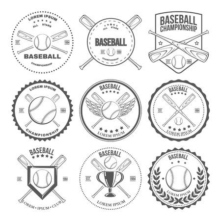 Set of vintage baseball labels and badges. Vector illustration Illustration