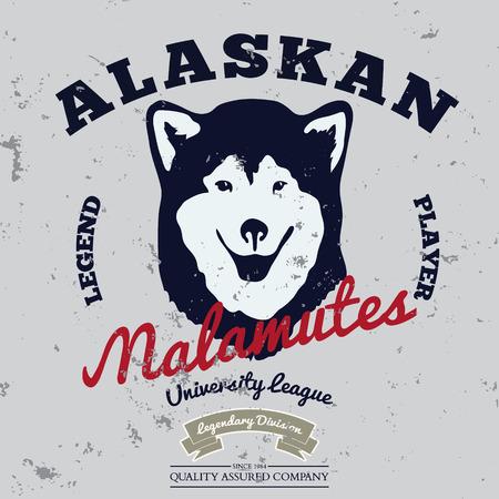 alaskabo: Alaskan malamute club. Tee graphic. Vector. Grunge effect on separate layer