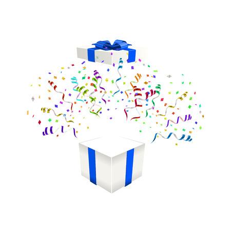 Open gift with confetti vector illustration background Ilustração