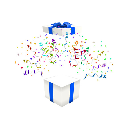 Open gift with confetti vector illustration background Illustration