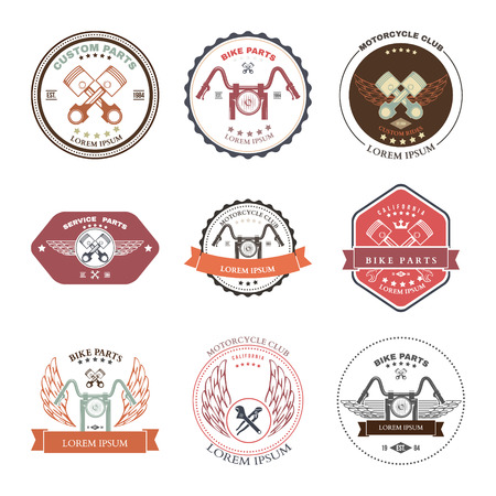 motorcycling: Race Bikers Garage Repair Service Emblems and Motorcycling Clubs Tournament Labels Collection isolated. Vector illustration Illustration