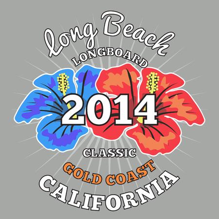 gold coast: Long Beach surfing, vector artwork illustration