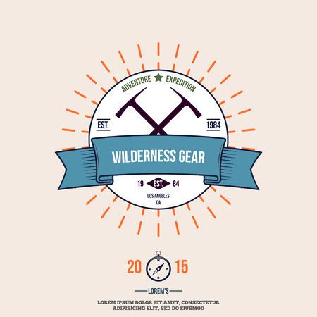 wilderness: wilderness gear adventure badge graphic design logo emblem vector illustration Illustration