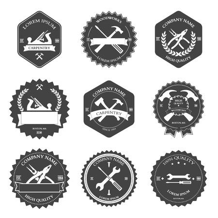 Vintage carpentry tools, labels and design elements. Vector illustration Illustration
