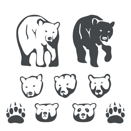 bear paw: Set of bears for emblems and labels vector illustration Illustration