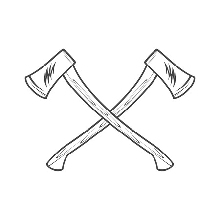 woodsman: Two axes with wooden handles vector illustration