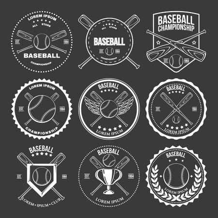 Set of vintage baseball labels and badges Vector illustration