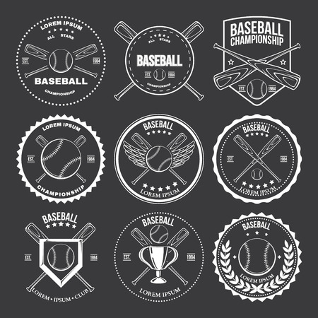 Set of vintage baseball labels and badges Vector illustration