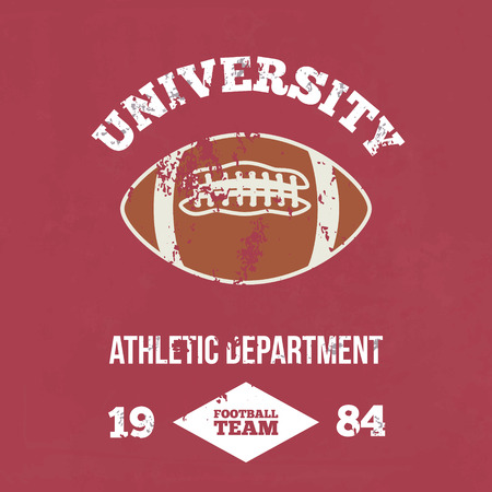dept: University football athletic dept. - Vintage print for sportswear apparel in custom colors