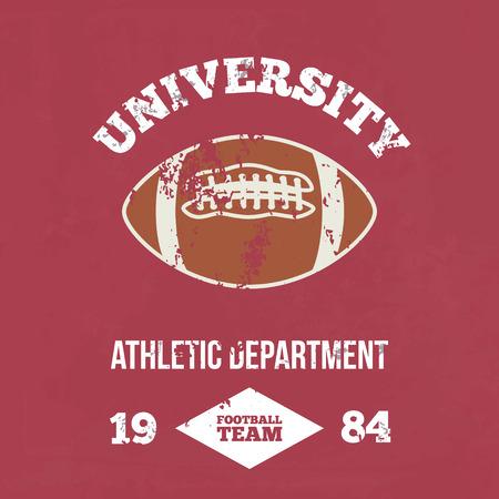 dept: University football athletic dept. - Vintage print for sportswear apparel in custom colors
