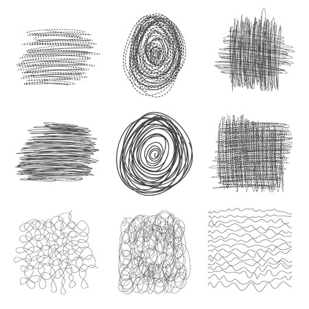 set of hand drawn lines textures, scribbles of pen, hatching, scratch